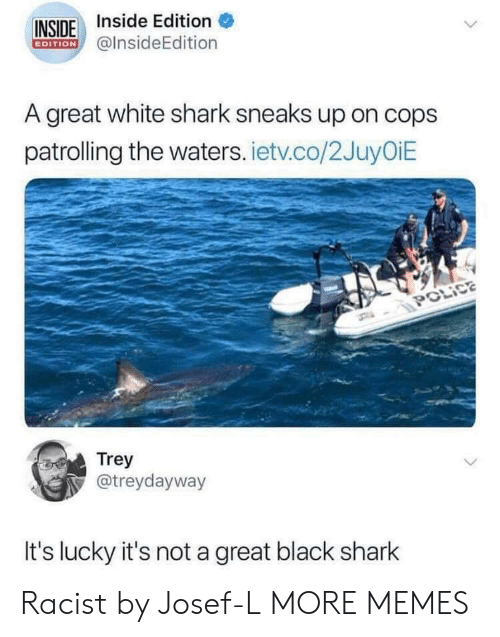 Dank, Memes, and Target: INSIDE Inside Edition  EDITION @InsideEdition  A great white shark sneaks up on cops  patrolling the waters. ietv.co/2JuyOiE  POLIC  Trey  otreydayway  It's lucky it's not a great black shark Racist by Josef-L MORE MEMES