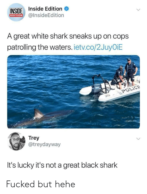 Police, Shark, and Black: INSIDE Inside Edition  EDITION@insideEdition  A great white shark sneaks up on cops  patrolling the waters. ietv.co/2JuyOiE  POLİCE  Trey  @treydayway  It's lucky it's not a great black shark Fucked but hehe