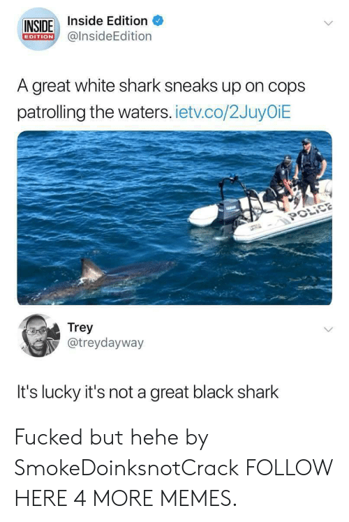 Dank, Memes, and Police: INSIDE Inside Edition  EDITION@insideEdition  A great white shark sneaks up on cops  patrolling the waters. ietv.co/2JuyOiE  POLİCE  Trey  @treydayway  It's lucky it's not a great black shark Fucked but hehe by SmokeDoinksnotCrack FOLLOW HERE 4 MORE MEMES.