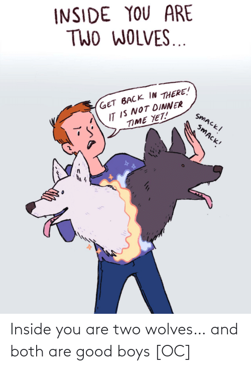 inside: Inside you are two wolves… and both are good boys [OC]
