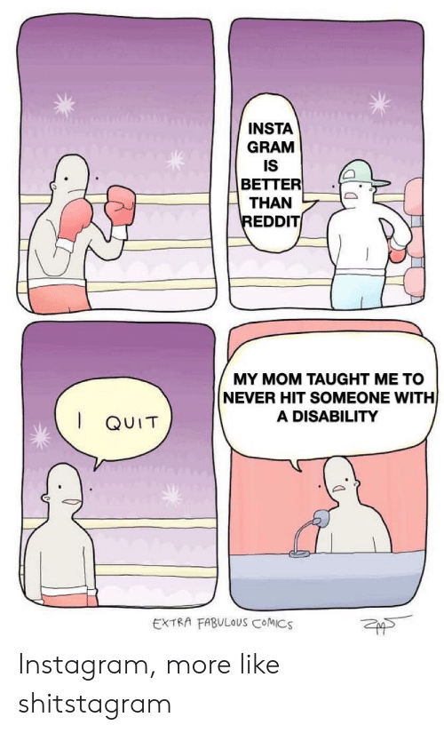 Instagram, Reddit, and Never: INSTA  GRAM  IS  BETTER  THAN  REDDIT  MY MOM TAUGHT ME TO  NEVER HIT SOMEONE WITH  A DISABILITY  QUIT  EXTRA FABULOUS COMICS Instagram, more like shitstagram