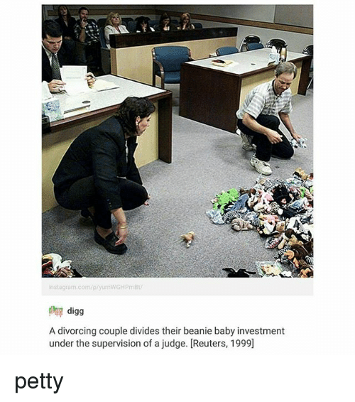beanie baby: instagram.com/p/yumWGHPmBt  digg  A divorcing couple divides their beanie baby investment  under the supervision of a judge. [Reuters, 1999] petty
