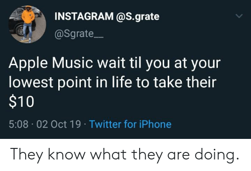 Apple Music: INSTAGRAM @S.grate  @Sgrate  Apple Music wait til you at your  lowest point in life to take their  $10  5:08 02 Oct 19 Twitter for iPhone They know what they are doing.
