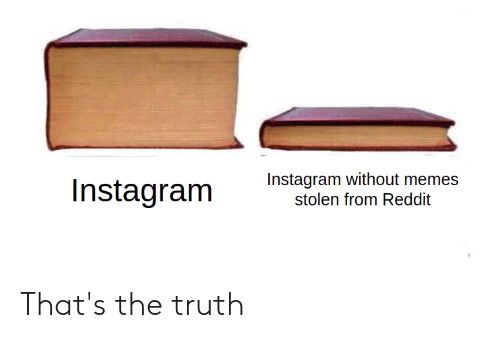 Instagram, Memes, and Reddit: Instagram without memes  stolen from Reddit  Instagram That's the truth