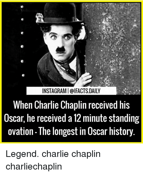 Charlie, Memes, and Oscars: INSTAGRAMI@I FACTS DAILY  When Charlie Chaplin received his  Oscar, he received a 12 minute standing  Ovation The longest in OSCar history Legend. charlie chaplin charliechaplin