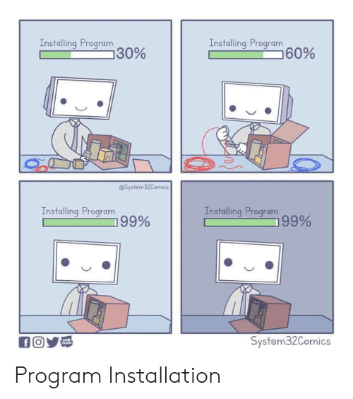 System, Program, and Installation: Installing Program  30%  Installing Program  60%  @System 32Camics  Installing Program  99%  Installing Program  99%  System32Comics  TOOH Program Installation