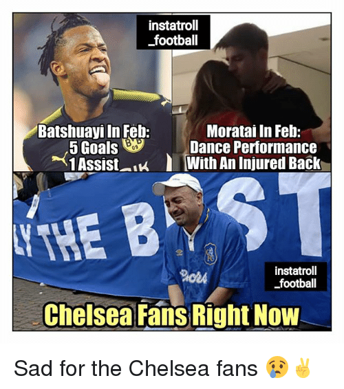Chelsea, Football, and Goals: instatroll  football  Batshuayi In Feb:  Moratai In Feb:  5 Goals Dance Performance  1 Assist-lu With An Injured Back  09  THE B  instatroll  football  ChelseaFans Right Now Sad for the Chelsea fans 😢✌