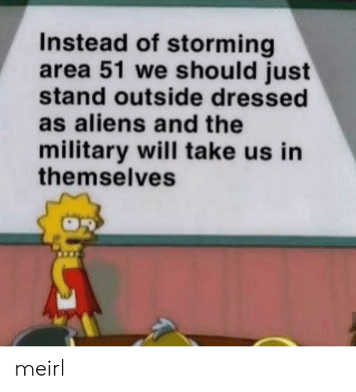 Aliens, Military, and MeIRL: Instead of storming  area 51 we should just  stand outside dressed  as aliens and the  military will take us in  themselves meirl