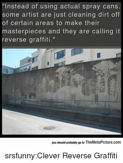 """Graffiti, Tumblr, and Blog: """"Instead of using actual spray cans  some artist are just cleaning dirt off  of certain areas to make their  asterpieces and they are calling it  reverse graffiti.""""  you should probably go to TheMetaPicture.com srsfunny:Clever Reverse Graffiti"""
