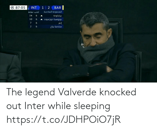 Knocked: INT 1 2  BAR  87:05  aualul acgaral  لعب نقاط  14  برشلونة  و 6  10  بوروسيا دورتموند ه  إنتر  6.  سلافيا براغ  و  و The legend Valverde knocked out Inter while sleeping https://t.co/JDHPOiO7jR