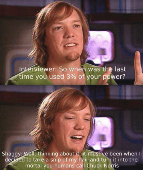 Chuck Norris, Hair, and Power: Interviewer: So when was the last  ime you used 3% of your power?  Shaggy: Wel, thinking about it, it must've been when I  decided to take a snip of my hair and turn it into the  mortal you humans call Chuck Norris