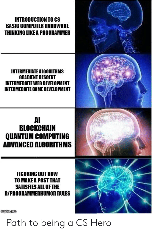 Computer, Game, and How To: INTRODUCTION TO CS  BASIC COMPUTER HARDWARE  THINKING LIKE A PROGRAMMER  INTERMEDIATE ALGORITHMS  GRADIENT DESCENT  INTERMEDIATE WEB DEVELOPMENT  INTERMEDIATE GAME DEVELOPMENT  AI  BLOCKCHAIN  QUANTUM COMPUTING  ADVANCED ALGORITHMS  FIGURING OUT HOW  TO MAKE A POST THAT  SATISFIES ALL OF THE  R/PROGRAMMERHUMOR RULES  ingfip.com Path to being a CS Hero