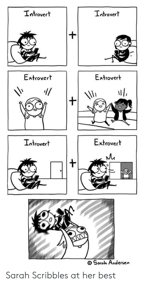 Introvert, Best, and Her: Introvert  Introvert  Extrovert  Extrovert  Extrovert  Introvert  Sarah Andersen Sarah Scribbles at her best