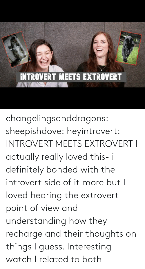 definitely: INTROVERT MEETS EXTROVERT changelingsanddragons: sheepishdove:  heyintrovert: INTROVERT MEETS EXTROVERT I actually really loved this- i definitely bonded with the introvert side of it more but I loved hearing the extrovert point of view and understanding how they recharge and their thoughts on things I guess. Interesting watch    I related to both
