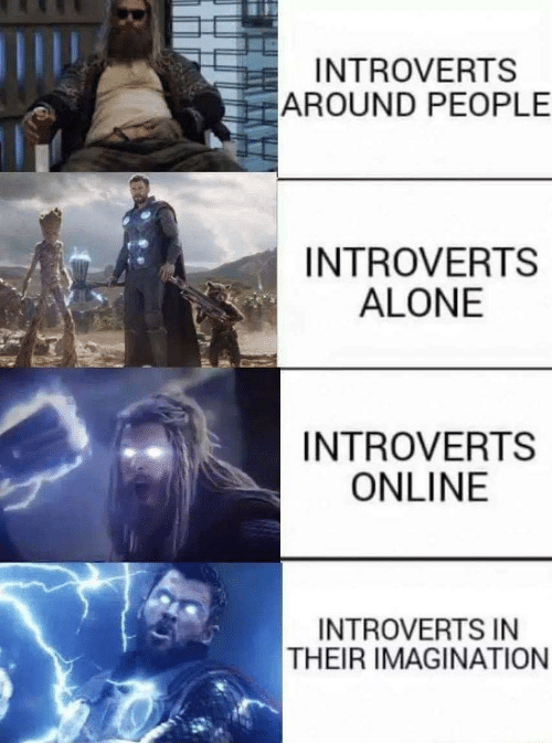 introverts: INTROVERTS  AROUND PEOPLE  INTROVERTS  ALONE  INTROVERTS  ONLINE  INTROVERTS IN  THEIR IMAGINATION