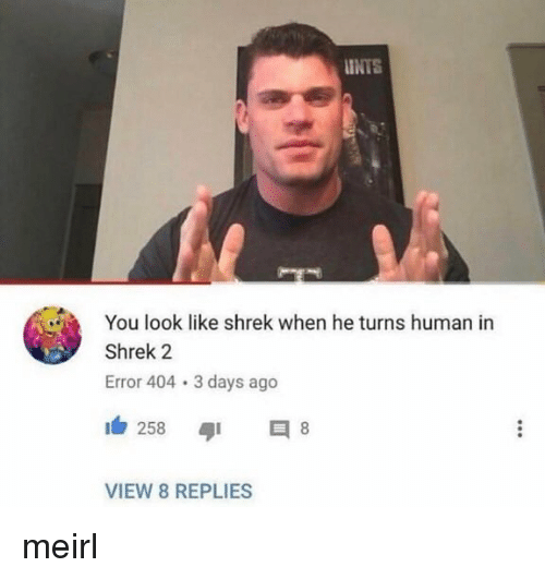 Shrek, Shrek 2, and MeIRL: INTS  You look like shrek when he turns human in  Shrek 2  Error 404 3 days ago  258 8  VIEW 8 REPLIES meirl
