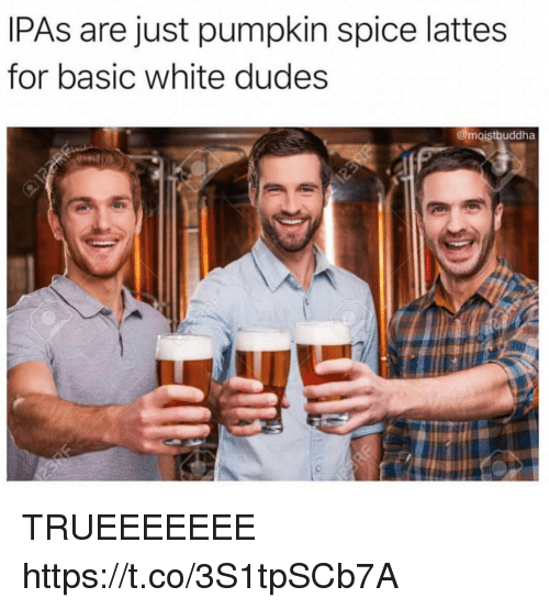 Funny, Pumpkin, and White: IPAs are just pumpkin spice lattes  for basic white dudes  @moistbuddha TRUEEEEEEE https://t.co/3S1tpSCb7A