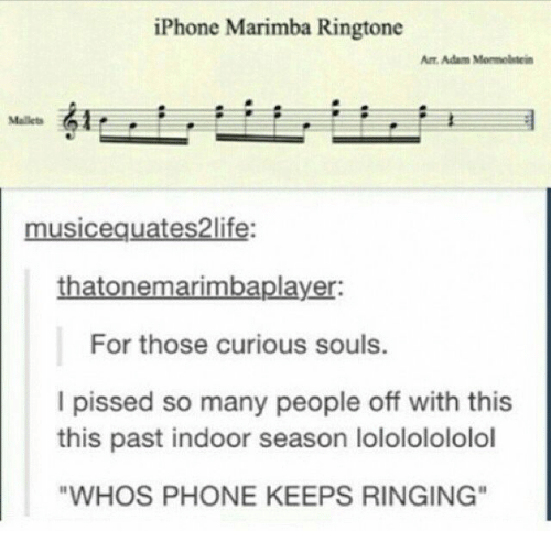 "Ringtone: iPhone Marimba Ringtone  Ar Adam Mormolstein  Mallets  musicequates2life:  thatonemarimbaplayer:  For those curious souls.  I pissed so many people off with this  this past indoor season lolololololol  ""WHOS PHONE KEEPS RINGING"""