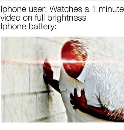 Iphone, Video, and Watches: Iphone user: Watches a 1 minute  video on full brightness  Iphone battery:
