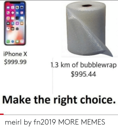 Dank, Iphone, and Memes: iPhone X  $999.99  1.3 km of bubblewrap  $995.44  Make the right choice. meirl by fn2019 MORE MEMES