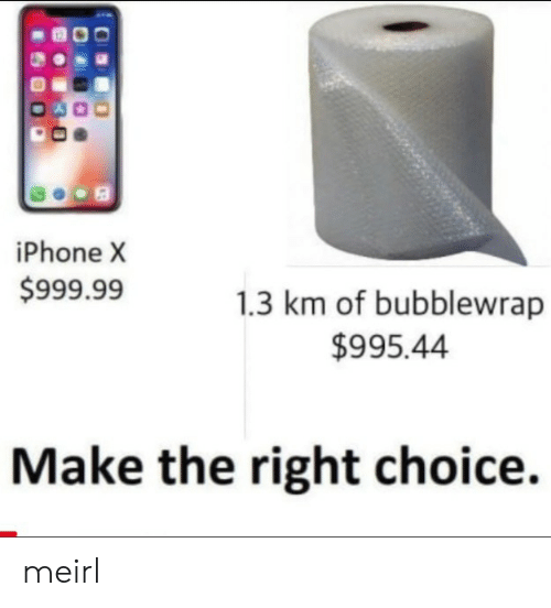 Iphone, MeIRL, and Make: iPhone X  $999.99  1.3 km of bubblewrap  $995.44  Make the right choice. meirl