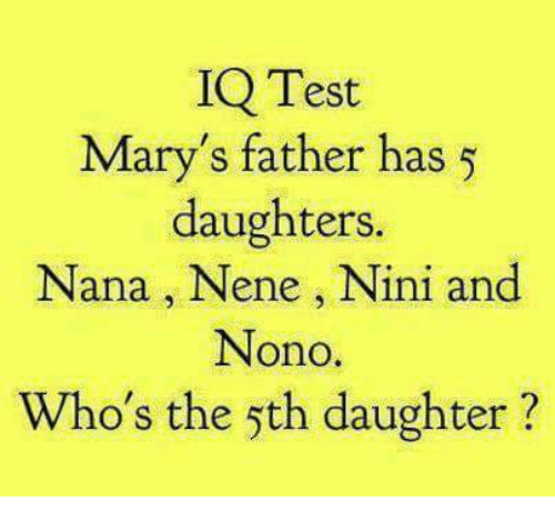 Nini: IQ Test  Mary's father has 5  daughters.  Nana, Nene, Nini and  Nono  Who's the 5th daughter?