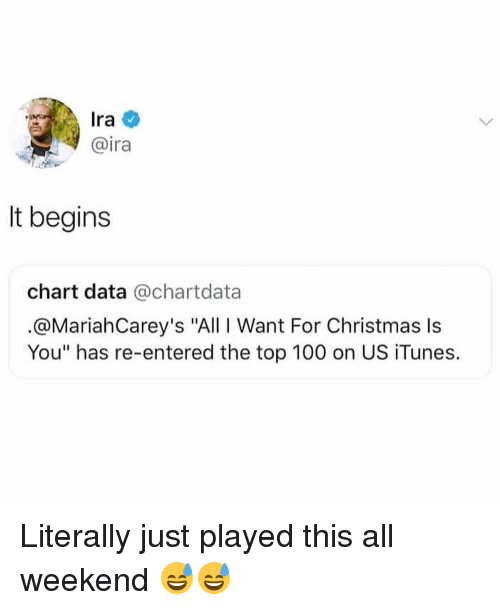 "Anaconda, Christmas, and Funny: Ira  @ira  It begins  chart data @chartdata  @MariahCarey's ""All I Want For Christmas ls  You"" has re-entered the top 100 on US iTunes. Literally just played this all weekend 😅😅"