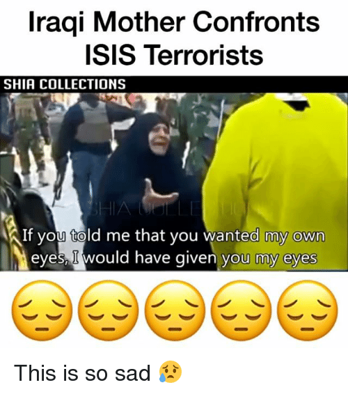 Isis, Memes, and Iraqi: Iraqi Mother Confronts  ISIS Terrorists  SHIA COLLECTIONS  AIf you told me that you wanted my own  eyes would have given you my eyes This is so sad 😥