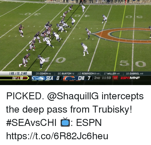 Espn, Memes, and 🤖: IRB, I TE, 3 WR  29 COHEN RB  80 BURTON TE  12 ROBINSON ll wR)  17 MILLER WR  |  18 GABRIEL wR  SEA OCHI 7 2ND 1159 10PT MINF PICKED.  @ShaquillG intercepts the deep pass from Trubisky! #SEAvsCHI  📺: ESPN https://t.co/6R82Jc6heu