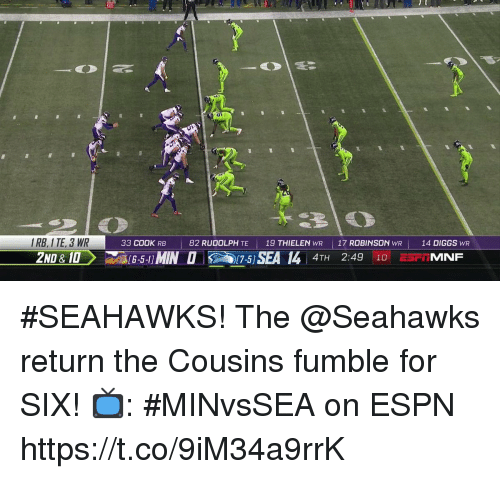 Espn, Memes, and Seahawks: IRB, I TE, 3 WR  2ND &10  33 COOK RB  82 RUDOLPH TE  19 THIELEN WR  | 17 ROBINSON  WR  14 DIGGS WR  4TH 2:49 10 E5FIMNF #SEAHAWKS!  The @Seahawks return the Cousins fumble for SIX!  📺: #MINvsSEA on ESPN https://t.co/9iM34a9rrK