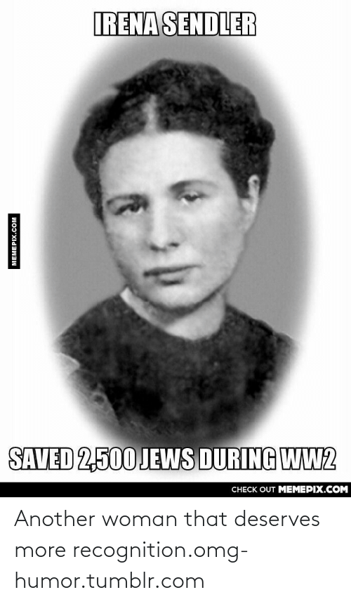 Irena: IRENA SENDLER  SAVED 2,500 JEWS DURING WW2  CНECK OUT MЕМЕРIХ.COМ  MEMEPIX.COM Another woman that deserves more recognition.omg-humor.tumblr.com