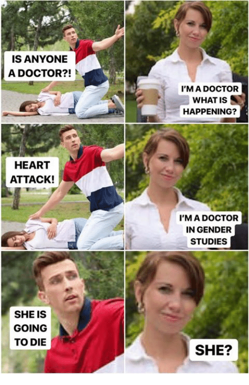 Dank, Doctor, and Heart: IS ANYONE  A DOCTOR?!  I'MA DOCTOR  WHAT IS  HAPPENING?  HEART  ATTACK!  I'M A DOCTOR  IN GENDER  STUDIES  SHE IS  GOING  TO DIE  SHE?