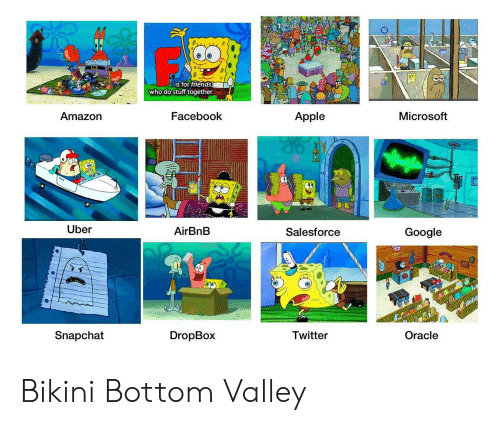 Apple, Facebook, and Google: is for triends  who do stuff together  Amazorn  Facebook  Apple  Microsoft  Uber  AirBnB  Salesforce  Google  Snapchat  DropBox  Twitter  Oracle Bikini Bottom Valley