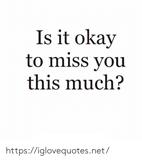 This Much: Is it okay  to miss you  this much? https://iglovequotes.net/