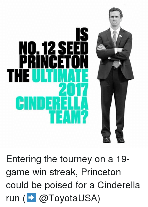 Sports, Princeton, and Eos: IS  NO. 12 SEED  PRINCETON  SDNE7A?  EO  2C  NL D  E  II C Entering the tourney on a 19-game win streak, Princeton could be poised for a Cinderella run (➡️ @ToyotaUSA)