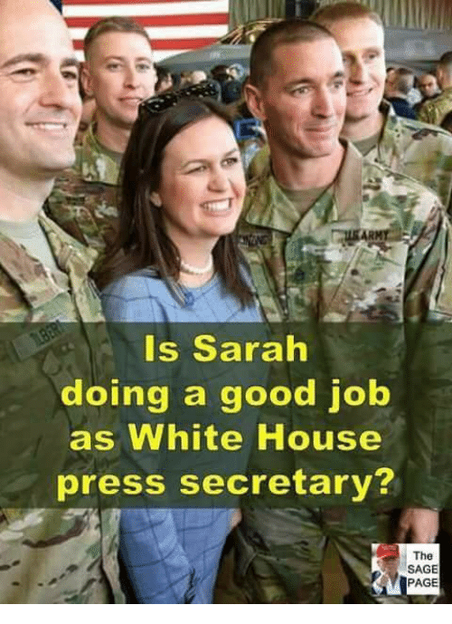 Memes, White House, and Good: Is Sarah  doing a good job  as White House  press secretary?  The  SAGE  PAGE