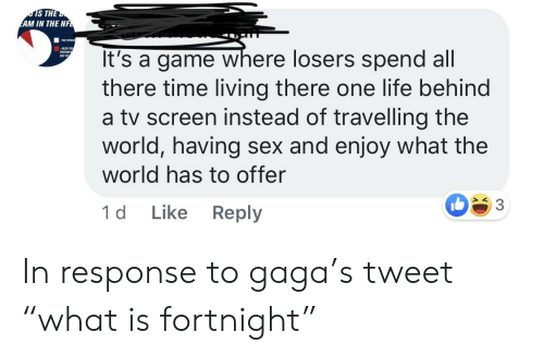 """Life, Sex, and Game: IS THE  AM IN THE NF  ALS TN  It's a game where losers spend all  there time living there one life behind  a tv screen instead of travelling the  world, having sex and enjoy what the  world has to offer  PATAIOES  aUT IN  Like Reply  1 d In response to gaga's tweet """"what is fortnight"""""""