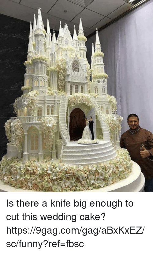 9gag, Dank, and Funny: Is there a knife big enough to cut this wedding cake?  https://9gag.com/gag/aBxKxEZ/sc/funny?ref=fbsc