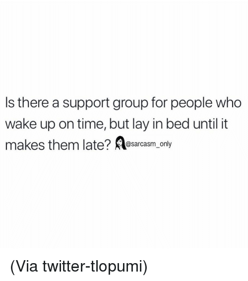 Lay In Bed: Is there a support group for people who  wake up on time, but lay in bed until it  @sarcasm_only (Via twitter-tlopumi)
