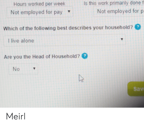 Being Alone, Head, and Work: Is this work primarily done f  Hours worked per week  Not employed for p  Not employed for pay  Which of the following best describes your household??  I live alone  Are you the Head of Household ?  No  Sav Meirl