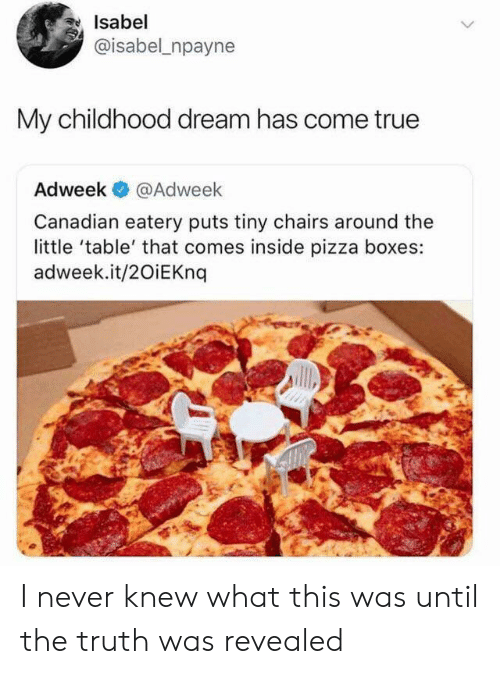 Pizza, True, and Canadian: Isabel  @isabel npayne  My childhood dream has come true  Adweek  @Adweek  Canadian eatery puts tiny chairs around the  little 'table' that comes inside pizza boxes:  adweek.it/20iEKnq I never knew what this was until the truth was revealed