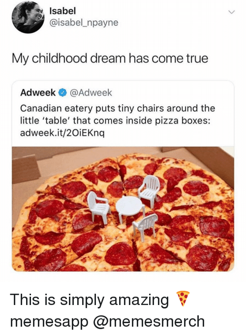 Memes, Pizza, and True: Isabel  @isabel_npayne  My childhood dream has come true  Adweek @Adweek  Canadian eatery puts tiny chairs around the  little 'table' that comes inside pizza boxes:  adweek.it/2OiEKnq This is simply amazing 🍕 memesapp @memesmerch