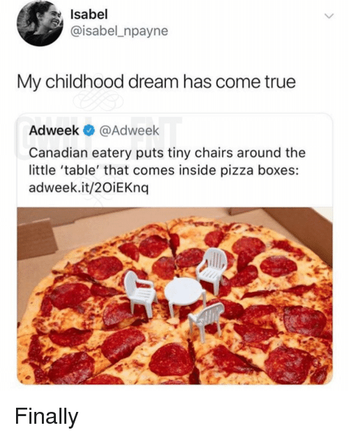 Memes, Pizza, and True: Isabel  @isabel_npayne  My childhood dream has come true  Adweek @Adweek  Canadian eatery puts tiny chairs around the  little 'table' that comes inside pizza boxes:  adweek.it/2OiEKnq Finally