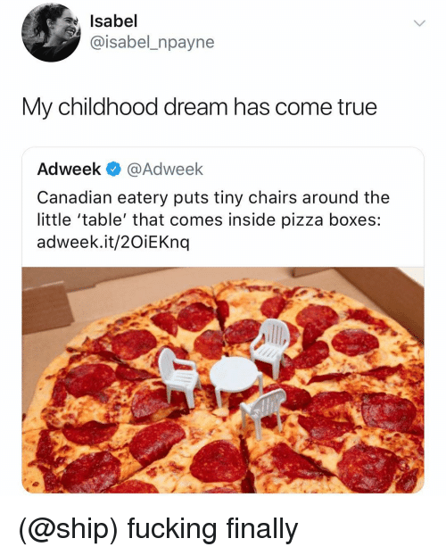 Fucking, Pizza, and True: Isabel  @isabel_npayne  My childhood dream has come true  Adweek @Adweek  Canadian eatery puts tiny chairs around the  little 'table' that comes inside pizza boxes:  adweek.it/2OiEKnq (@ship) fucking finally