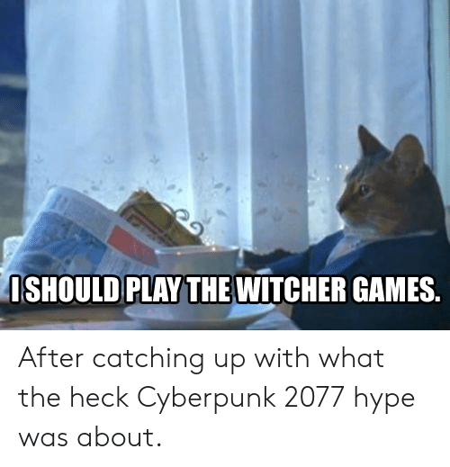 catching up: ISHOULD  PLAYTHEWITCHER GAMES. After catching up with what the heck Cyberpunk 2077 hype was about.