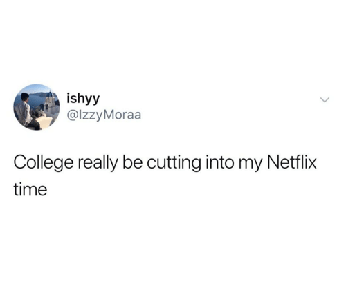 College, Dank, and Netflix: ishyy  @lzzyMoraa  College really be cutting into my Netflix  time
