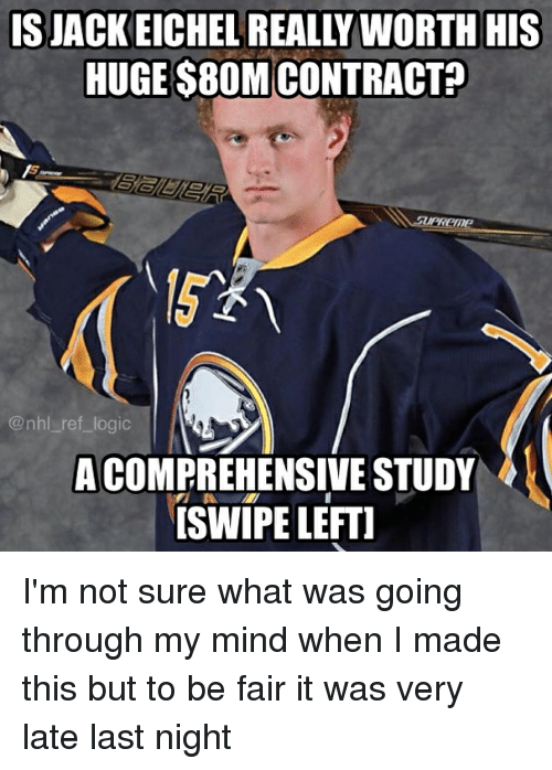 Logic, Memes, and National Hockey League (NHL): ISJACKEICHEL REALLY WORTH HIS  HUGE $80M CONTRACT?  1  @nhl ref_logic  A COMPREHENSIVE STUDY  ISWIPE LEFTI I'm not sure what was going through my mind when I made this but to be fair it was very late last night