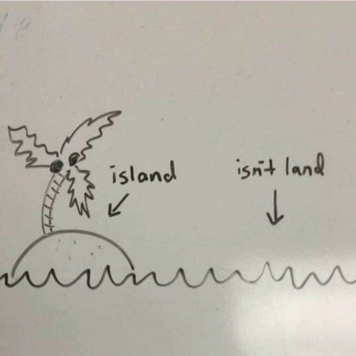 Island, Land, and Isnt: island  isnt land