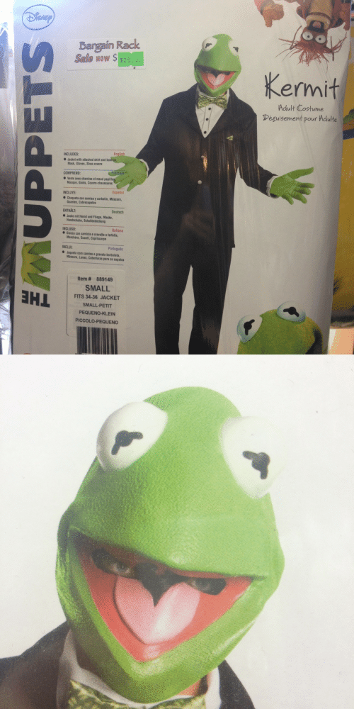 Piccolo, Wow, and Covers: ISNE  Bargain Rack  Seale wow $ $39.9  Now $ $39.9  Kermit  Adult Costume  éguisement pour Adulte  INCLUDES:  Jacket with attached shirt and bowtie  Mask, Gloves, Shoe covers  COMPREND:  ● veste avec chemise et naud papillo  Masque, Gants, Couvre-chaussures  INCLUYE:  Español  Chaqueta con camisa y corbatin, Máscara,  Guantes, Cubrezapatos  ENTHALT:  Deutsch  Jacke mit Hemd und Fliege, Maske,  Handschuhe, Schuhbedeckung  Italiano  INCLUSO:  ● Giacca con camicia e cravatta a farfalla,  Maschera, Guanti, Copriscarpe  INCLUI:  Português  Jaqueta com camisa e gravata borboleta,  Máscara, Luvas, Coberturas para os sapatos  Item # 889149  SMALL  FITS 34-36 JACKET  SMALL-PETIT  PEQUENO-KLEIN  PICCOLO-PEQUENO