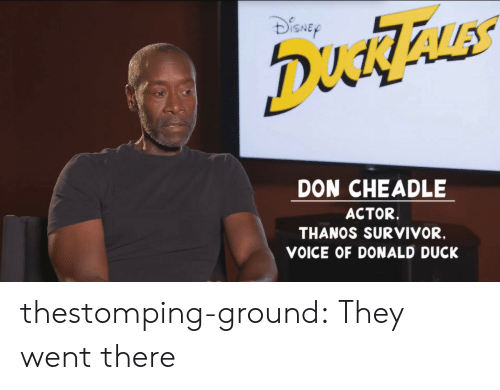donald duck: ISNE  DON CHEADLE  ACTOR.  THANOS SURVIVOR,  VOICE OF DONALD DUCK thestomping-ground: They went there
